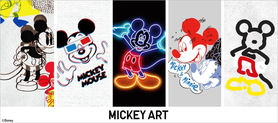 A comic book panel with five Mickey Mouse illustrations from the new Mickey Art collection, including 3D and neon styles.