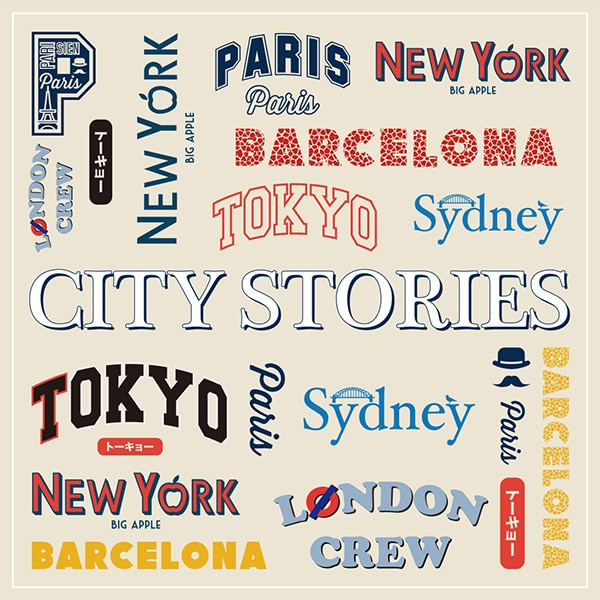 A collage of city logos from the collection, including London, Tokyo, New York, Barcelona, Paris and Sydney.