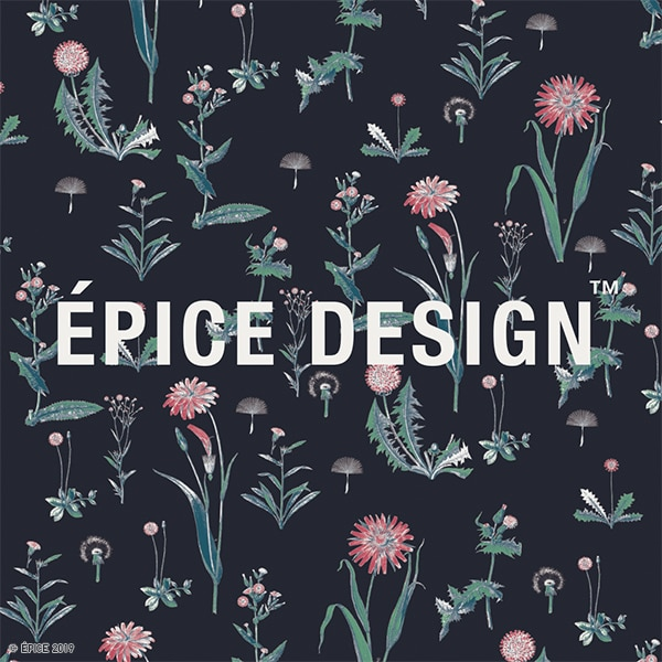 The main logo design for the Épice UT Collection, featuring a dark blue background and floral print patterns