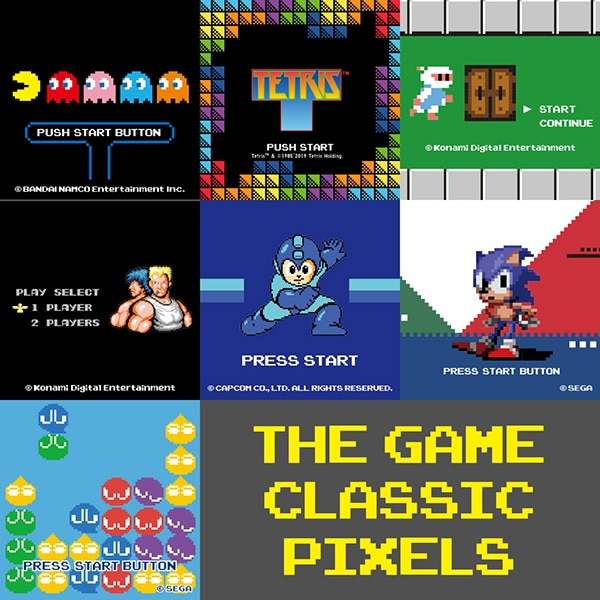 A visual collage of some of the legendary video game titles celebrated in this new collection, including PAC-MAN, Tetris™ and Sonic the Hedgehog.