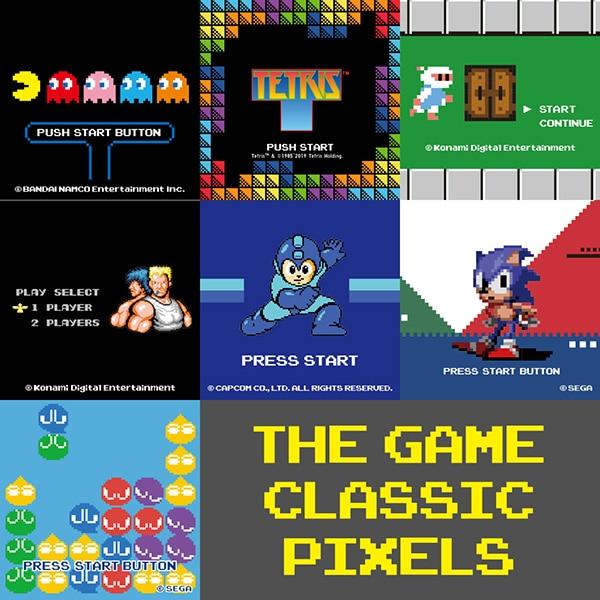 Eine Collage mit Bildern der legendären Videospiele, die auch in der Kollektion gezeigt werden. Darunter PAC-MAN, Tetris™ und Sonic the Hedgehog.