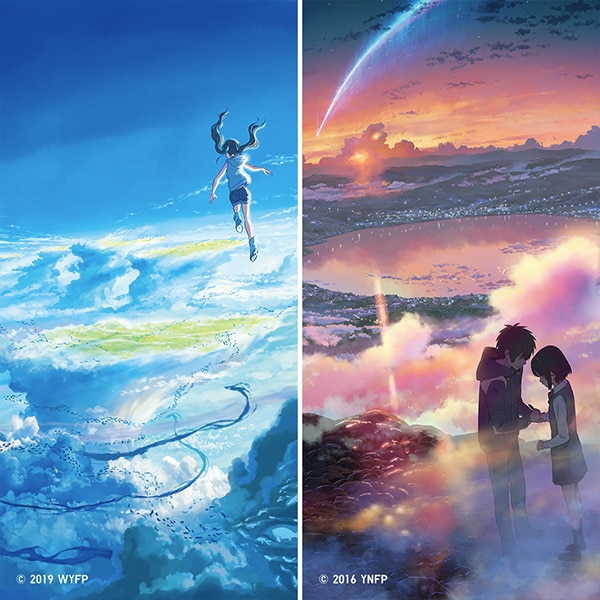 Frames from the films 'your name' and 'Weathering with You' featuring characters situated above the worlds they inhabit