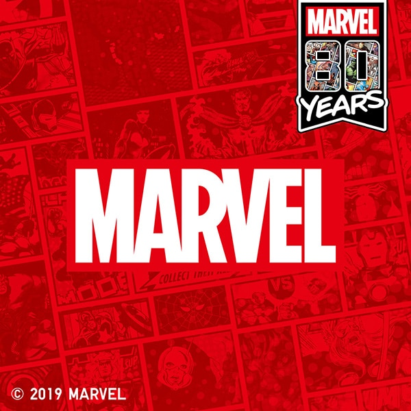 The Marvel logo on a red collage of comic book panels. In the top right a banner reads: 'MARVEL. 80 YEARS'.
