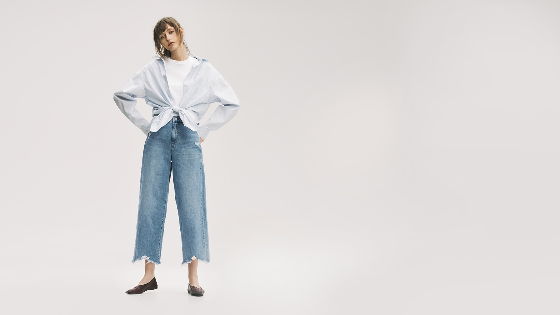 High Rise Wide Cropped Jeans