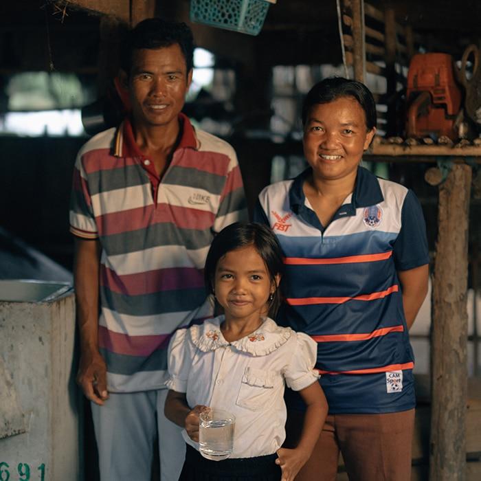 Family in rural Cambodia