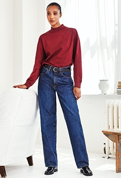 U Wide-Fit Curved Jeans image