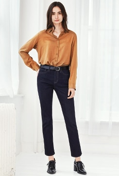High-Rise Skinny Straight Ankle Jeans (Beauty Compression) image