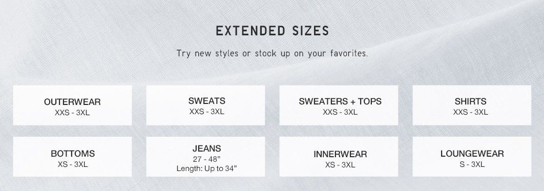 Extended Size Chart
