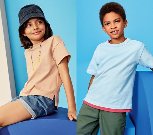 BLUE PINK GREEN PURPLE RED Boys Girls Childs Kids V Neck Vee Neck T-Shirt Tshirt