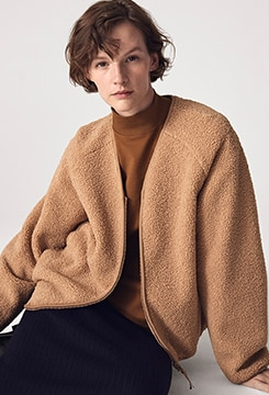 Pile-Lined Fleece V-Neck Cardigan image