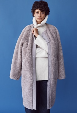 Pile-Lined Fleece Collarless Coat image