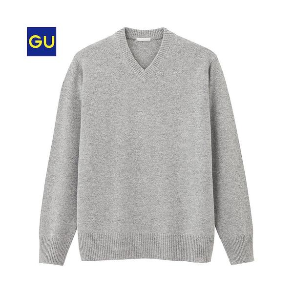 ラムブレンドVネックセーター(長袖)-GRAY