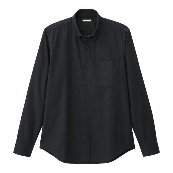 オックスフォードシャツ(長袖)-BLACK