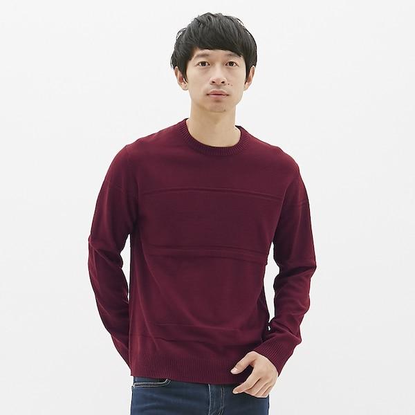シャドーボーダークルーネックセーター(長袖)-WINE
