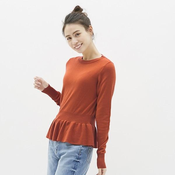 ペプラムセーター(長袖)-ORANGE