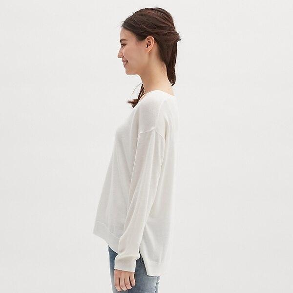 ウォッシャブルVネックセーター(長袖)