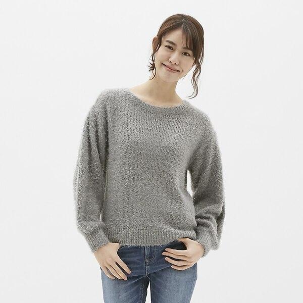 フェザーヤーンセーター(長袖)-GRAY