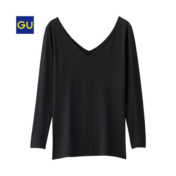 GUウォームVネックT(8分袖)-BLACK