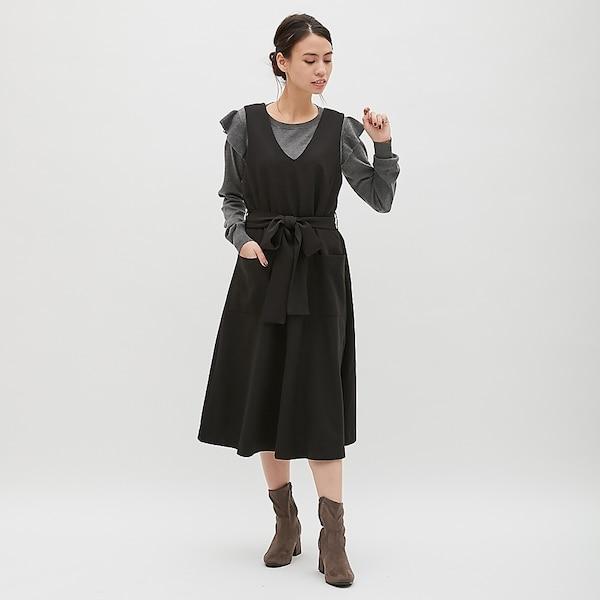 Vネックジャンパードレス(ノースリーブ)Z-BLACK