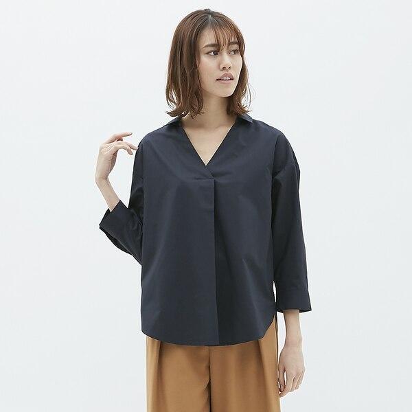 オーバーサイズスキッパーシャツ(7分袖)-NAVY