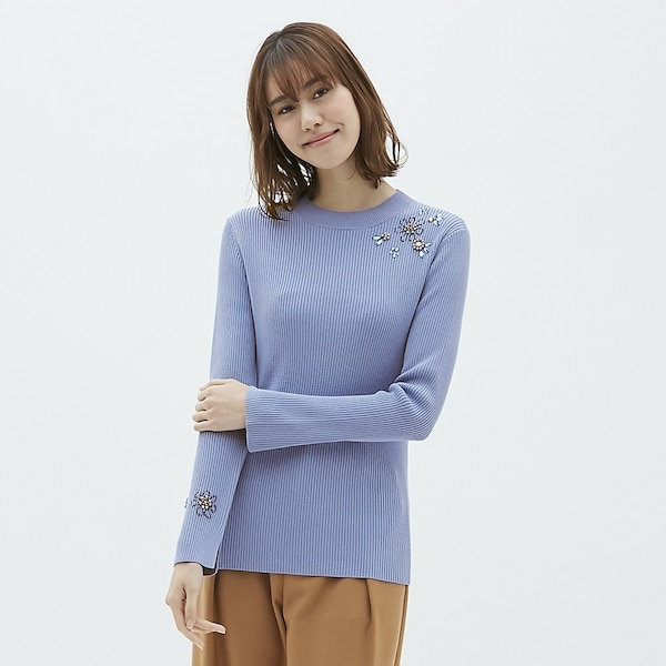 ビジューセーター(長袖)CR-BLUE