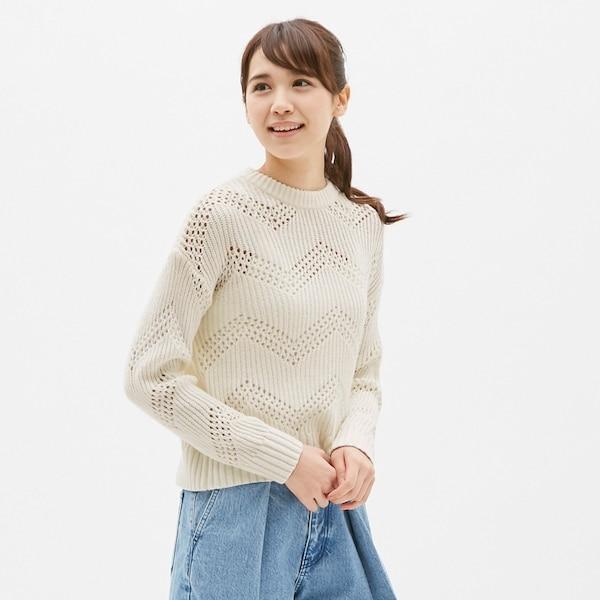 クロシェセーター(長袖)-OFF WHITE