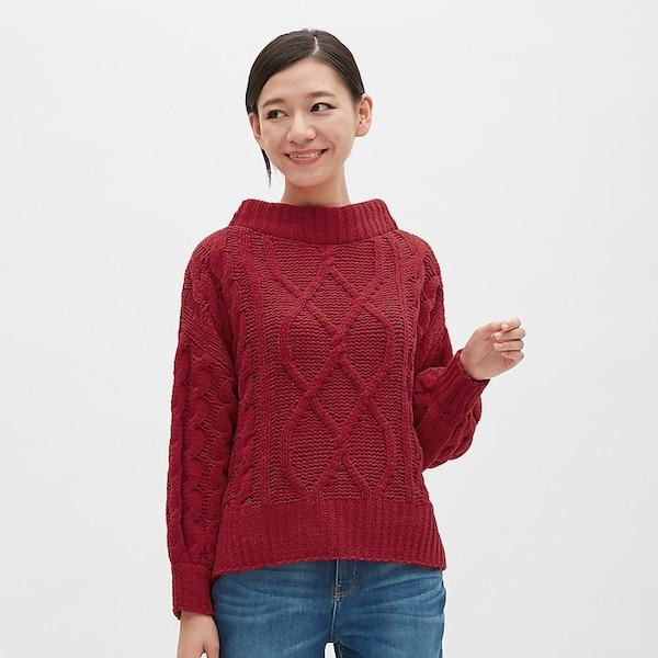 モールヤーンケーブルセーター(長袖)RO-RED