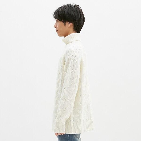 シャギーケーブルタートルネックセーター(長袖)