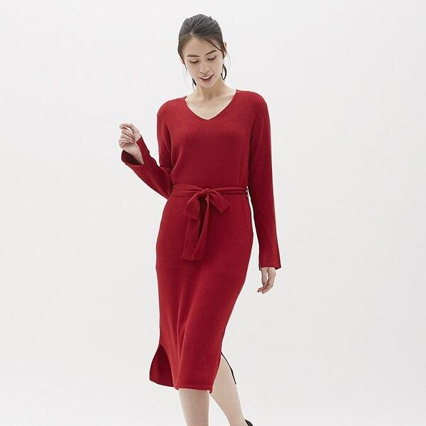 リブニットワンピース(長袖)-RED