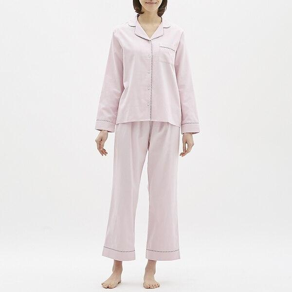 パジャマ(長袖)(パイピング)-PINK