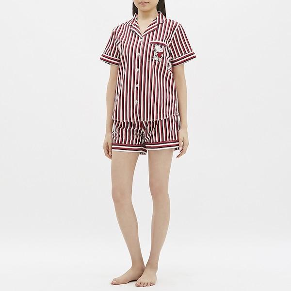 パジャマ(半袖&ショートパンツ)(ストライプ)ピーナッツ-NAVY