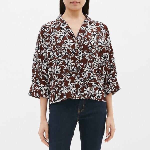 プリントオープンカラーシャツ(7分袖)SB-DARK BROWN