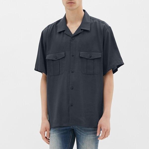 オープンカラービッグシャツ(半袖)JN-NAVY