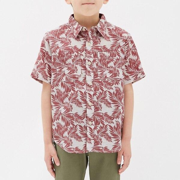 リネンブレンドリーフプリントシャツ(半袖)-RED