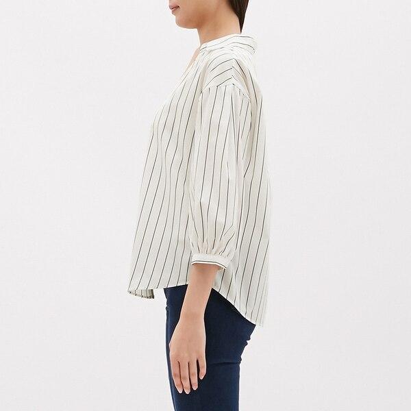 ストライプパフスリーブシャツ(7分袖)SB
