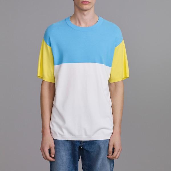 カラーブロックセーター(半袖)(KJ)-BLUE