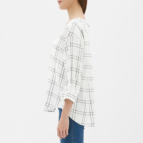 Vネックチェックシャツ(7分袖)JN