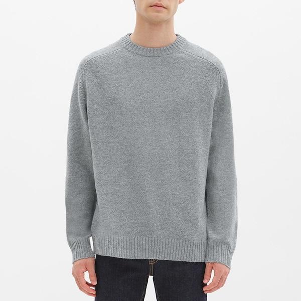 ラムブレンドクルーネックセーター(長袖)-GRAY