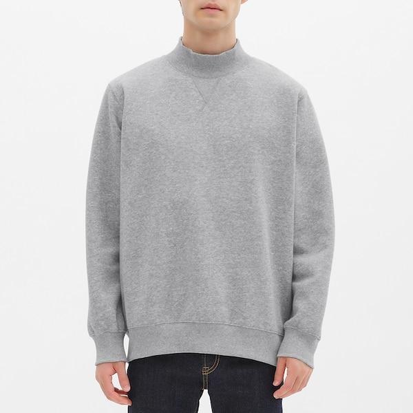 スウェットモックネックシャツ(長袖)-GRAY