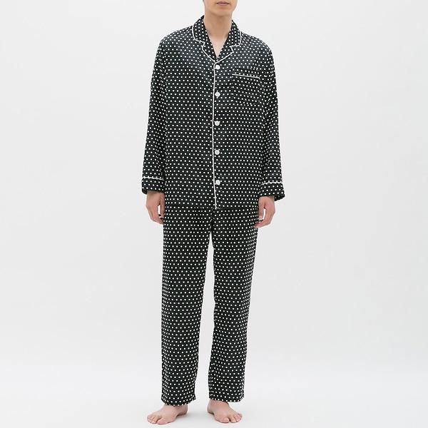 サテンパジャマ(長袖)(ドット)-BLACK