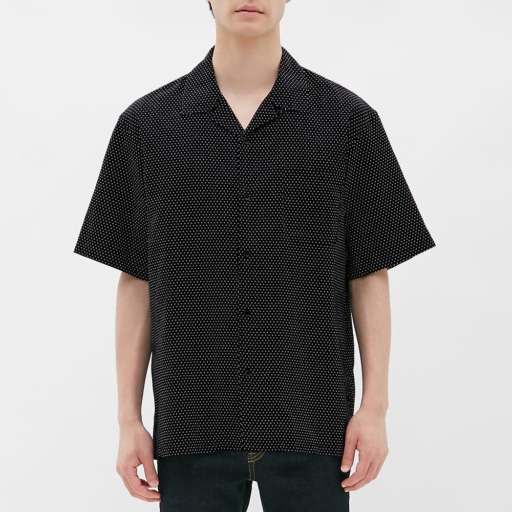 オープン カラー シャツ リネン ブレンド