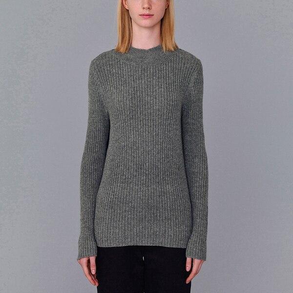 リブハイネックセーター(長袖)(KJ)-GRAY
