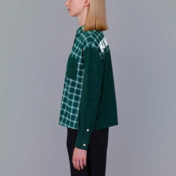 フランネルチェックカラーブロックシャツ(KJ)