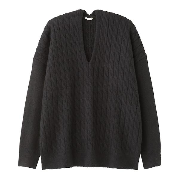 ケーブルオーバーサイズVネックセーター(長袖)BB-BLACK