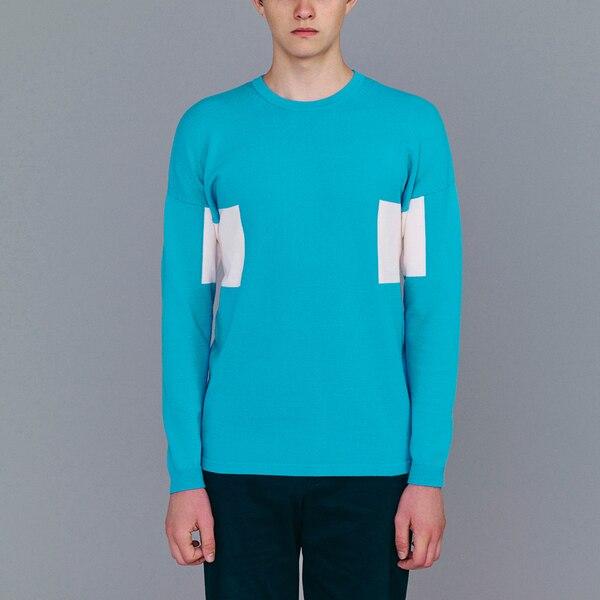 カラーブロックセーター(長袖)(KJ)-BLUE