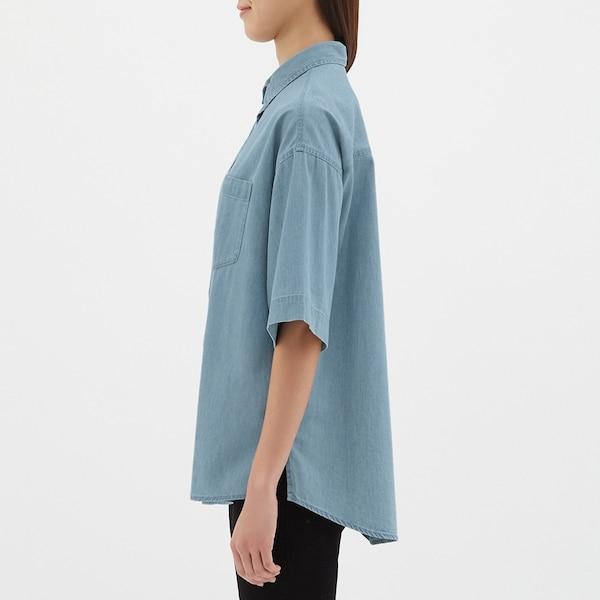 オーバーサイズデニムシャツ(5分袖)JN