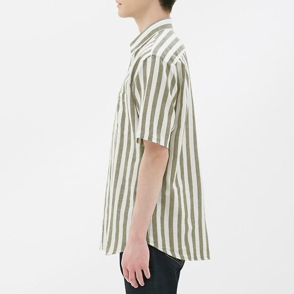 リネンブレンドシャツ(半袖)(ストライプ)