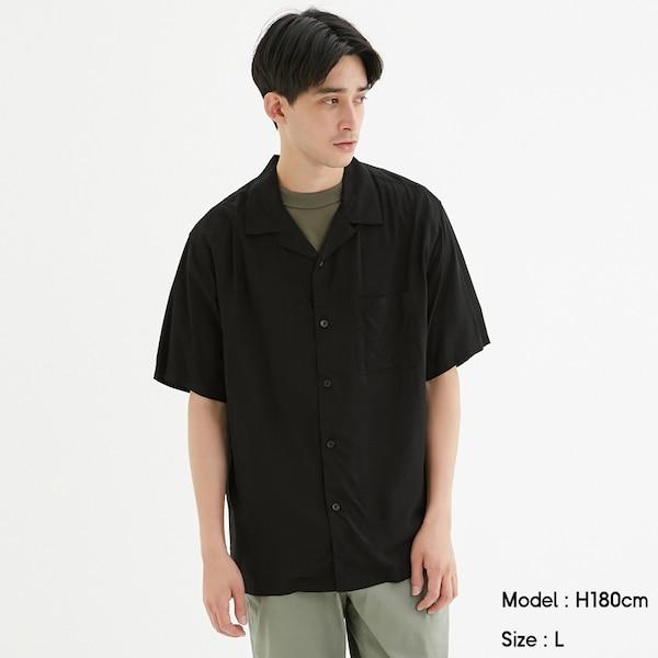 オープンカラーシャツ(半袖)-BLACK