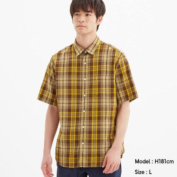 リネンブレンドシャツ(半袖)(チェック)-BEIGE