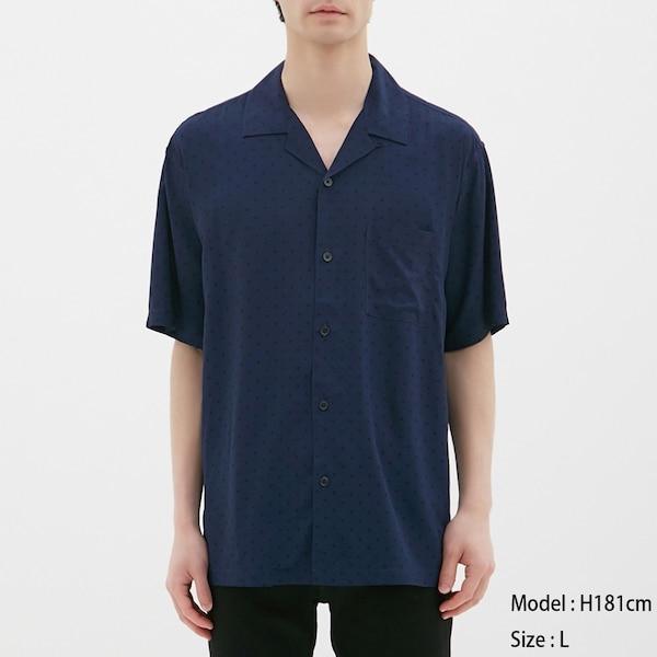 オープンカラーシャツ(半袖)(ドット)-NAVY
